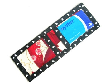 Fabric card holder. Clear window card holder. ID pass holder. Card wallet. Vinyl bus pass holder. Rail card holder