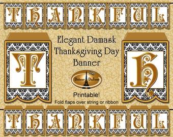 Thanksgiving Banner Printable THANKFUL Banner Elegant Gold Black White Instant Download