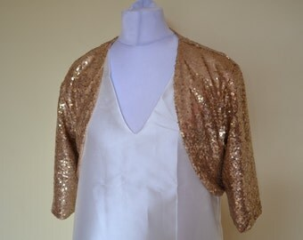 Custom made sequin shrug open bolero cardigan in sequin color of your choice - for weddings, bride, bridesmaid, prom or evening