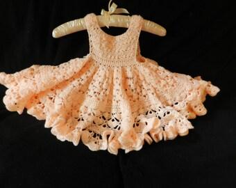 Crochet Peach Sundress For Little Girl