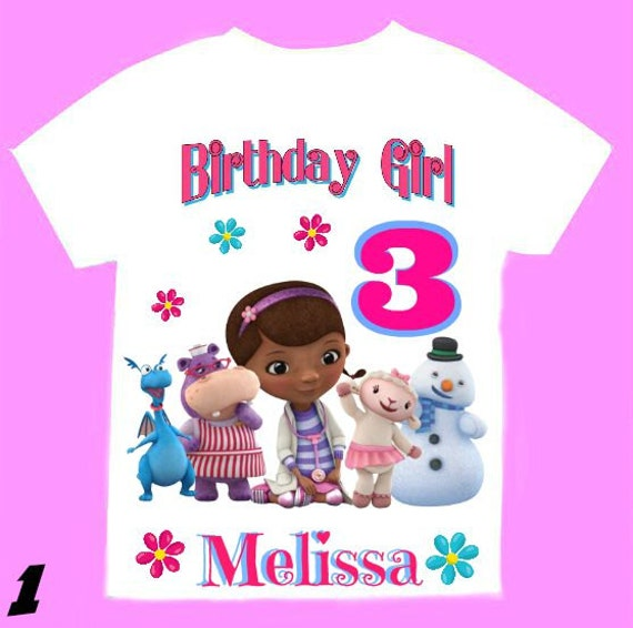 Doc mcstuffins birthday t shirt personalized by for Doc mcstuffins birthday girl shirt