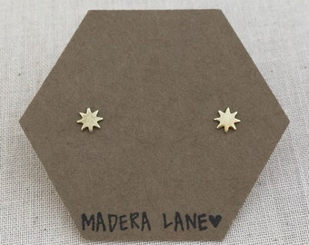 Tiny 8 Point Star Stud Earrings in Gold. Sterling Silver Posts. Octagram Studs. Eight Point Star Studs. Minimalist Everyday Jewelry.