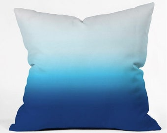 Throw Pillow Under the Sea Ombre Dip Dye