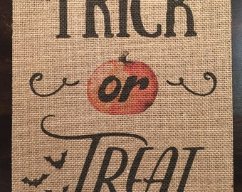 Trick or Treat | Halloween | Burlap Fabric Print | Rustic Decor | Home Decor | Seasonal Decor