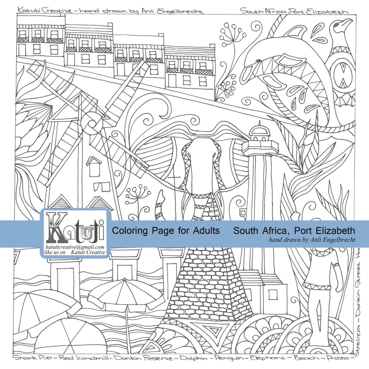 Colouring for adults south africa - Coloring Pages Instant Download South African City Port Elizabeth Zoom