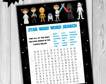 Attractive Star Wars Baby Shower Games Starwars Word Search Game Printable INSTANT  DOWNLOAD UPrint By Greenmelonstudios Starwars