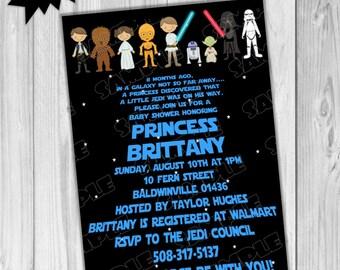 Star wars Baby shower invitation printable starwars UPrint customized card by greenmelonstudios star wars baby shower invite