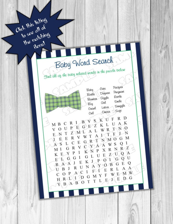Bowtie Baby Shower Games Word Search Game Printable INSTANT DOWNLOAD UPrint By Greenmelonstudios Bow Tie