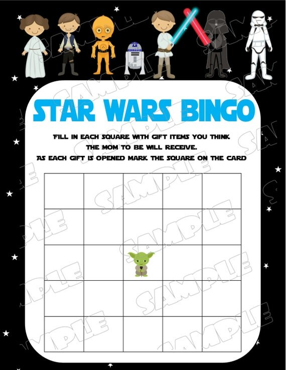Starwars Baby Shower Games Star Wars Bingo Game Printable INSTANT DOWNLOAD  UPrint By Greenmelonstudios Starwars Baby Shower