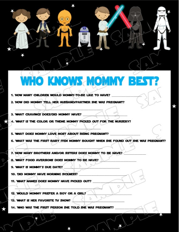 Superior Star Wars Baby Shower Games Starwars Who Knows Mommy Best Game Printable  INSTANT DOWNLOAD UPrint By Greenmelonstudios Starwars Baby Shower