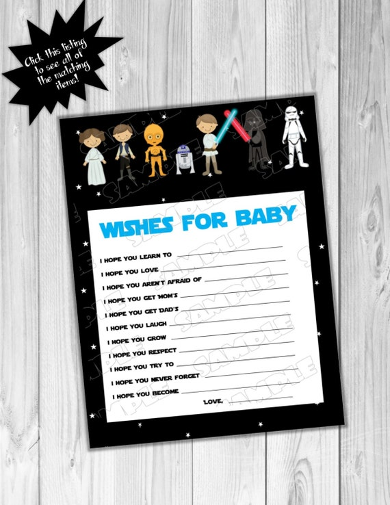 star wars baby shower games starwars wishes for baby game printable