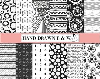 "Black and white digital paper: ""Hand Drawn Black and White"" geometric digital paper in black and white, hand drawn tribal patterns, arrows"