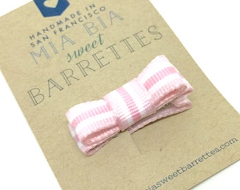 Tiny Pink Striped Bow Hair Clip Barrette