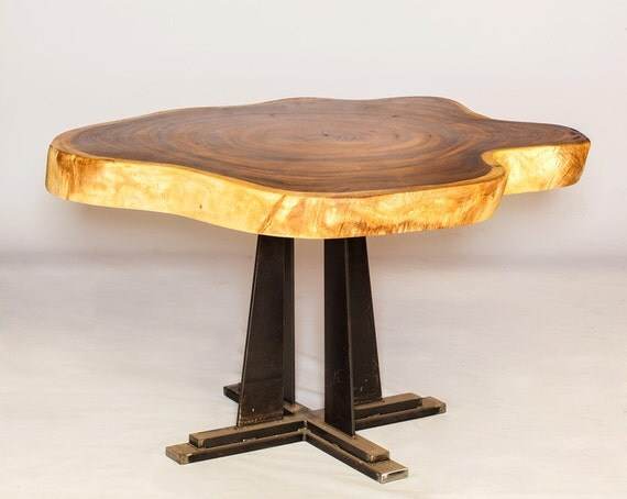 Sale live edge exotic dining table live edge with mission for Unusual dining table bases