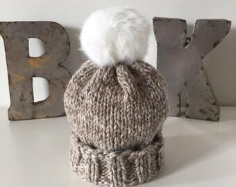 Harvest Marbled Wooly Hat w. POM POM