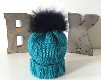 Caribbean Sea Wooly Hat w. Fur POM POM