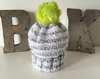 White & Grey Marbled Wooly Hat with faux fur POM POM