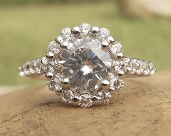 Dainty Halo Ring, Round Cut Halo, Unique Halo Ring, Classic Halo Ring, Gold Semi Mount Engagement or Promise Ring