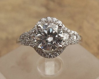 Round 6.25MM Diamond Engagement Ring, 14k White Gold, Semi Mount Ring