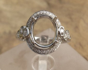 Solid 14K White Gold Oval 8X10MM Fashion Semi Mount Ring / Diamond Ring