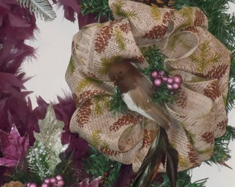 """28"""" Fir and Feather Christmas Wreath"""