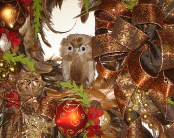 "20"" Autumn or Fall feather wreath with owl"