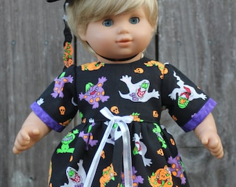 Black Orange Halloween Costume Ghost Goblin Dress Hat 15 Inch Doll Clothes American Made Girls Baby Kids Gifts Under 30 Doll Accessories