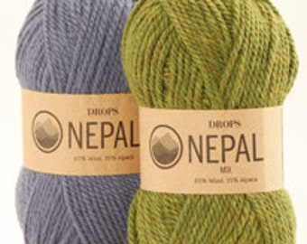 DROPS Nepal, Wool Alpaca yarn, Aran weight, knitting and crochetting