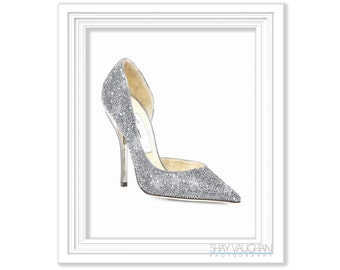 Silver Shoe Art Print Watercolor Fashion Silver Sparkle High Heels Shoes Home Decor Wall Decor Illustration Glicee Wall Art Gift (No.295)