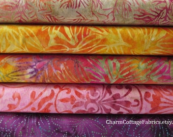 Batik Bundle JELLY BEAN and DREAMCATCHER Handmade Batiks   Half-Yard Each Print  from Moda Fabrics  Cotton Quilt Fabric