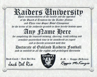 OAKLAND RAIDERS~  football fan ~certificate ~ diploma ~gift ~sign ~ man cave ~ office ~ dorm