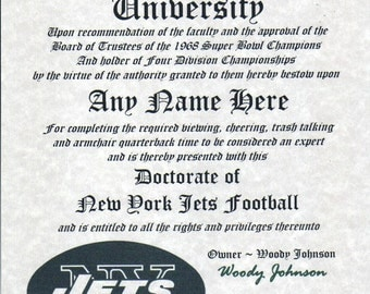NEW YORK JETS~  football fan ~certificate ~ diploma ~gift ~sign ~ man cave ~ office ~ dorm