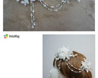 Bridal headpiece - Laces, Flowers, swarovski pearls, glass beads and crystals