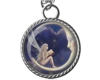 Fairy Necklace, Moon, Fairies Image Pendant Key Chain Handmade