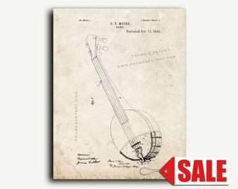 Patent Print - Banjo Patent Wall Art Poster