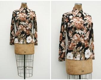 1970s | Black, Brown & White Rose Button-Down | Size M