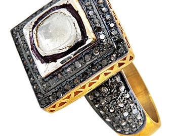 Victorian/Estate style 1.43 ct polki/diamond wedding/engagement ring 925 silver 14 kt gold plated.