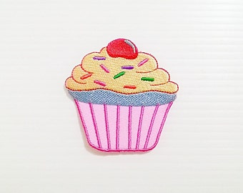 Pink Cupcake New Iron On Patch Embroidered Applique Size 5.7cm.x5.7cm.