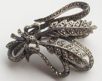 Antique Art Deco Sterling Silver Marcasite Bow Tied Leaf or Feather Bouquet Brooch