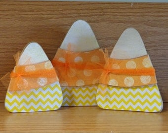 Fall Decor- Halloween Decor- Candy Corn Decorations-Set of 3 Candy Corns
