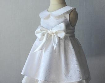 Christening Dress, Eyelet Baby Girl Baptism Gown, White Embroidered Dress, Girls Christening Dress, White Baby Dress, Flower Girl