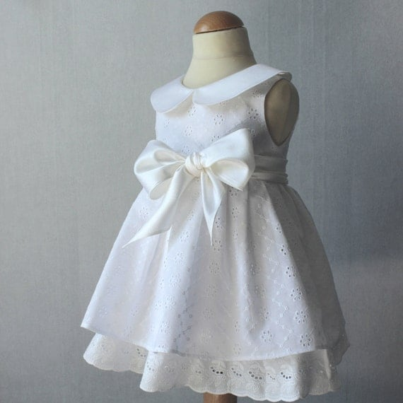Christening Dress Eyelet Baby Girl Baptism Gown White