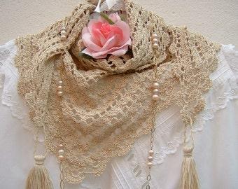 Crochet lace scarf-handmade ecru cotton shawls-scarf with tassels-ethnic Style fashion women to crochet