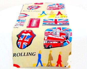 London table runner – Reversible 16x72 runner – Guitar union Jack decor – The Beattles Rolling table topper – Rock funky retro dining table