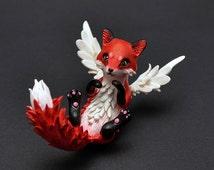 Fox sculpture fox figurine winged fox OOAK fox spirit animal sculpture animal figurine fox art fantasy fox author's work limited edition