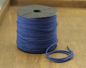 100 yards suede cord, faux suede cord, suede string, jewelry string, jewelry suede cord,navy suede cord,2 mm cord,necklace,Christmas,P107