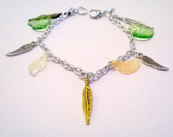 Leaf and Feather Charm Braclet