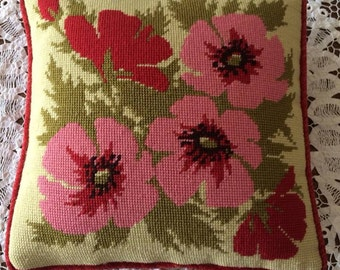 BEAUTIFUL Vintage 1950's Handmade Needlepoint Pillow