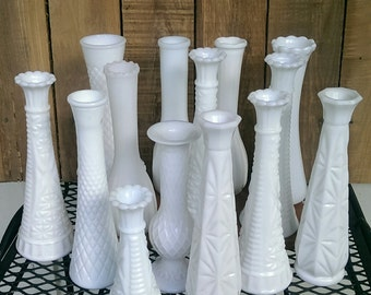 Milk Glass Vases Vintage Wedding Decor