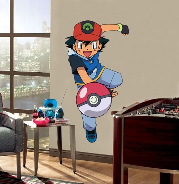 ash ketchum pokemon decal removable wall sticker by printadream. Black Bedroom Furniture Sets. Home Design Ideas